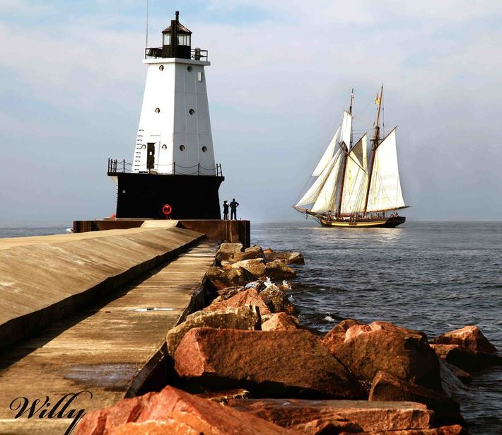 Ludington lighthouse and The Pride of Baltimore