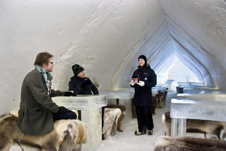 Restaurante de Gelo na Lapónia