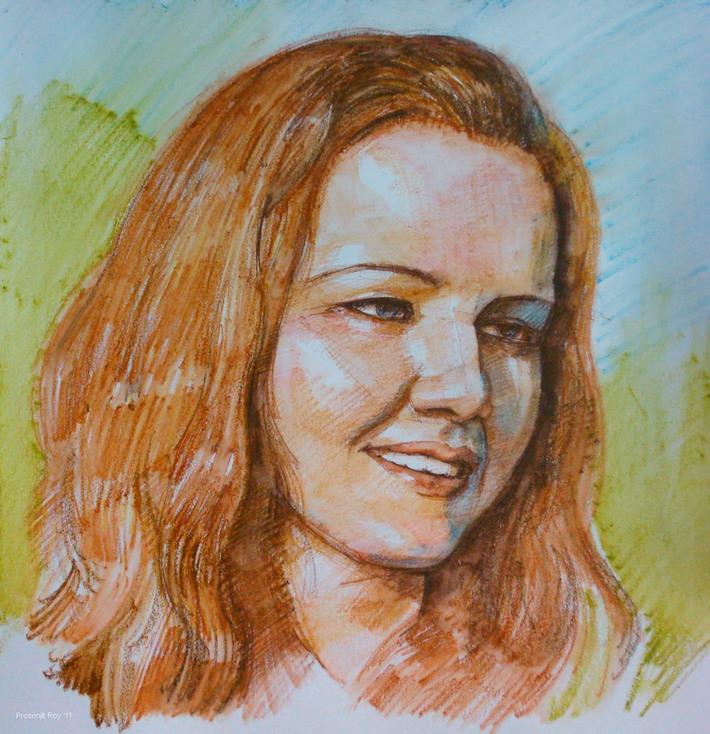 Portrait study in water-soluble media