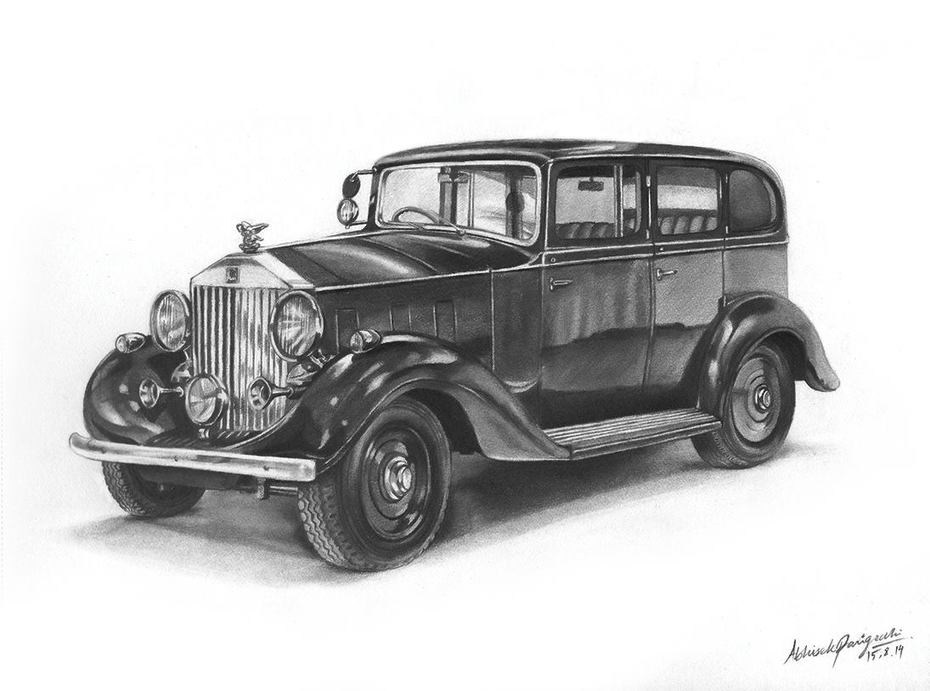 1936 Rolls-Royce Phantom (Pencil Sketch)