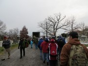 This was the line you stood in to get wreaths from a semi truck.