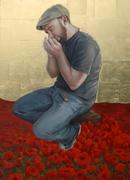"""Selah,"" Oil on Canvas w Gold Leaf, 36x48"" 2014"