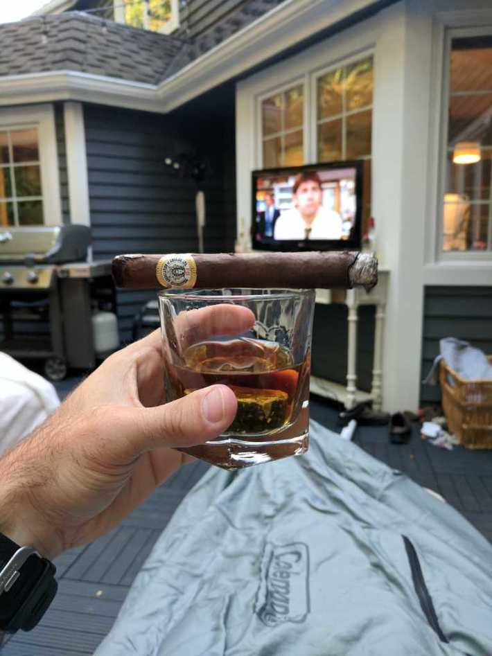 A little drink, cigar and old The Office episodes