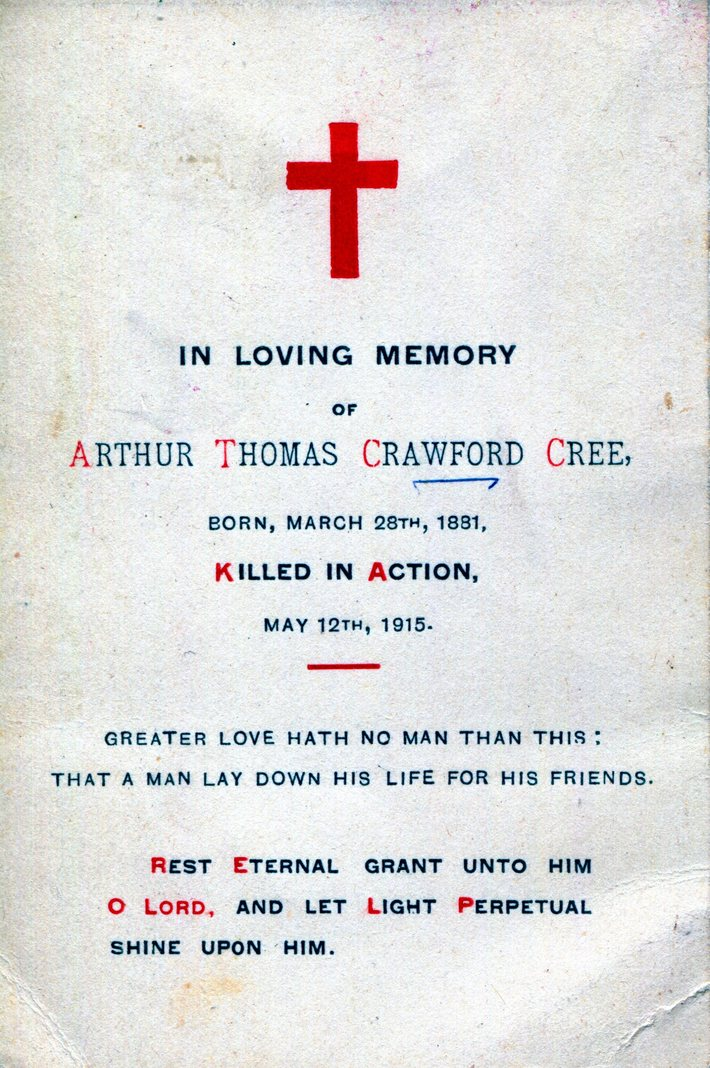 Arthur Thomas Crawford Cree Death Card