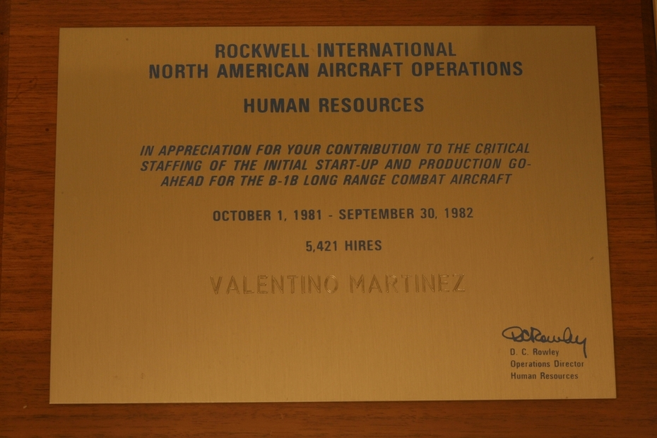 Team Plaque from Rockwell International's North American Aircraft Operations (RI-NAAO) Record Hires Mark of 5,421 Hires for a One Year Period - 1981 to 1982