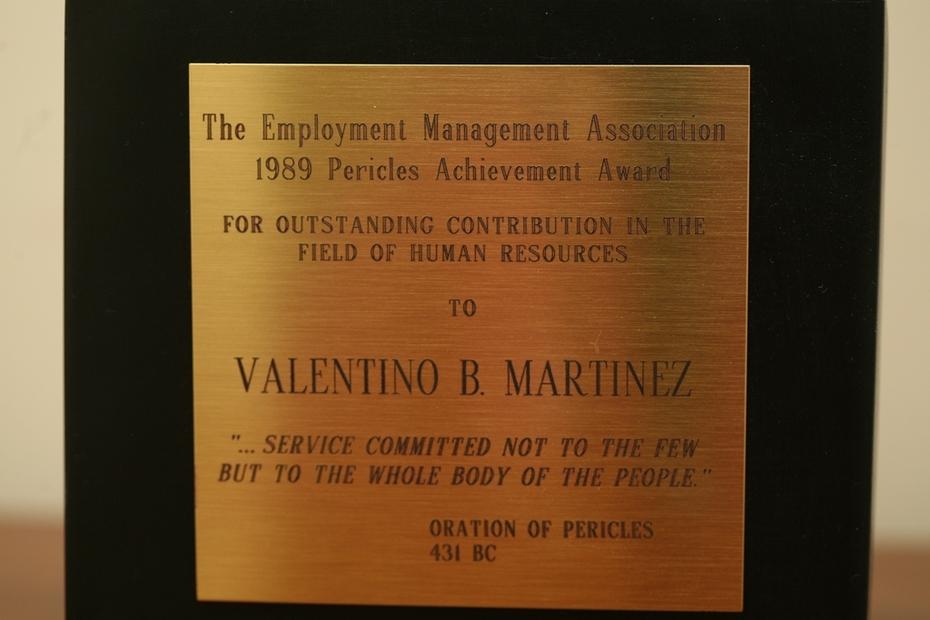 Employment Management Association (EMA) National Pericles Award EMA-1989 - Valentino Martinez