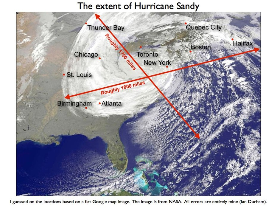 Extent of Hurricane Sandy IMPACT - Sight from Space