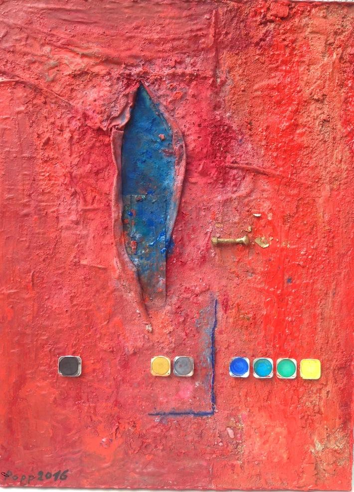 Die Magie des Jünglings 2016 60 cm x 80 cm Öl Acryl Metall Stoff Aquarellscheiben auf Leinen
