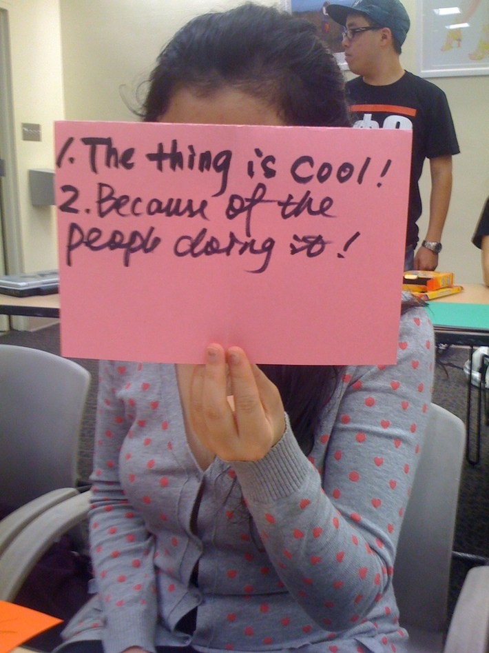 Qianqian- 1.The thing is cool 2. becuase of the people doing it!