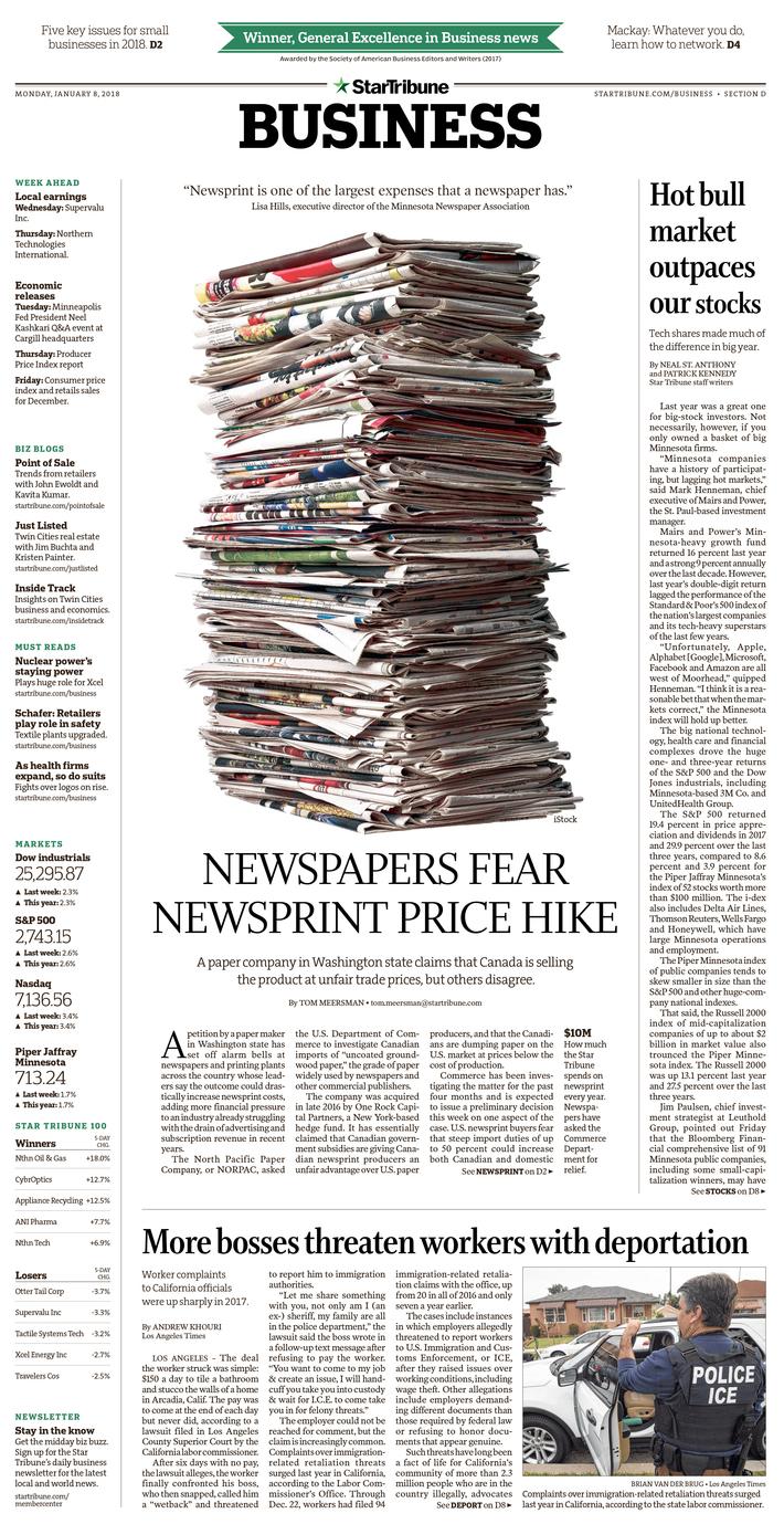 Newspapers fear newsprint price hike, January 2018