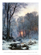 S24121~Twilit-Wooded-River-in-the-Snow-Posters +