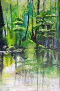 Japanischer Ggarten am Rhein, Dusseldorf, acrylic on linen canvas, 120 cm x 80 cm, 2015