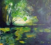 Sunset under Michael his wings, heaven and dream,Bunnik fort Vechten,24-05-2014, acrylic on linen canvas, 60 cm x70 cm 2015,