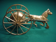 Gong Bell Horse with Large Cast Iron Wheels all Nickel Plated