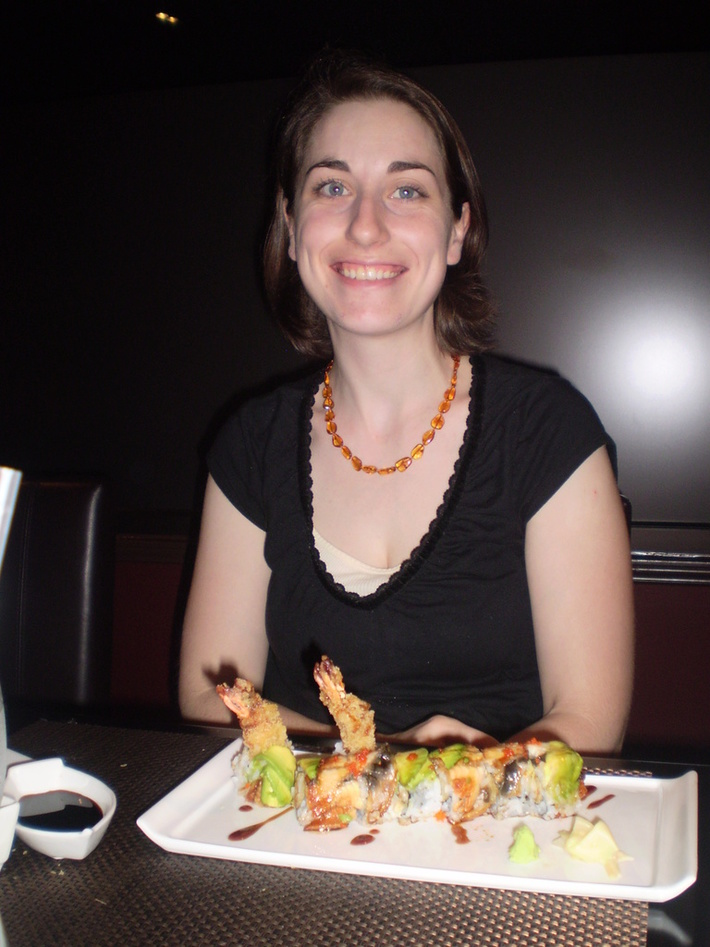 Sarah with her fancy food!