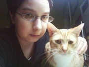 Me with Cinnamon, my youngest cat