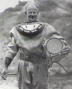 AL Hansen early 1950s holding the Hansen Helmet