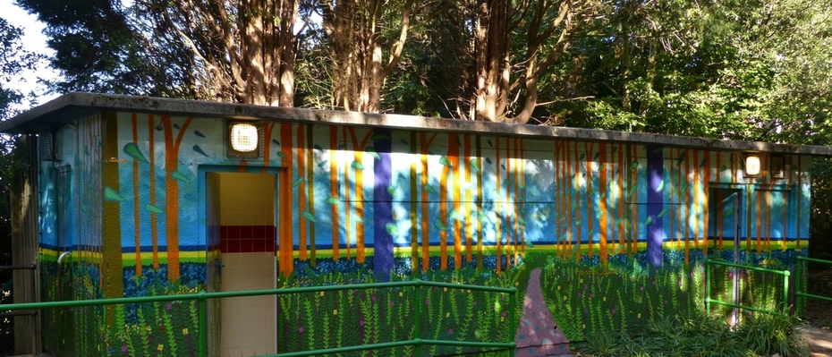 The beautiful new mural on the toilet block, inspired by the recent landscape art of David Hockney, Sept 16th '13