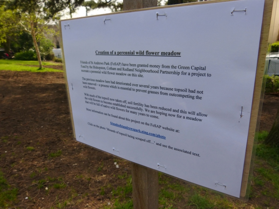 Information notice has now been put up on the newly created meadow site, April15th '15