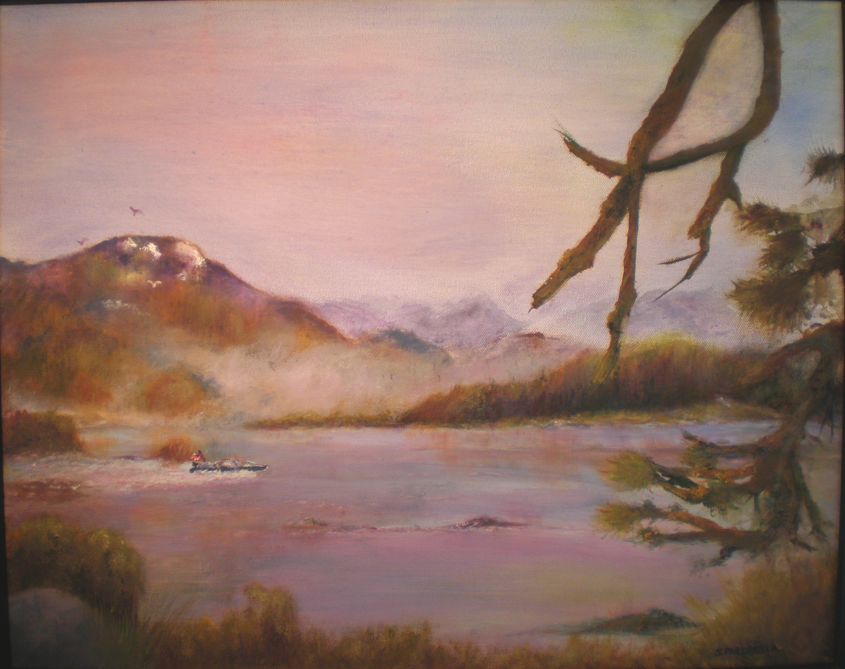 Shaver Lake Sunset - water-soluble oil