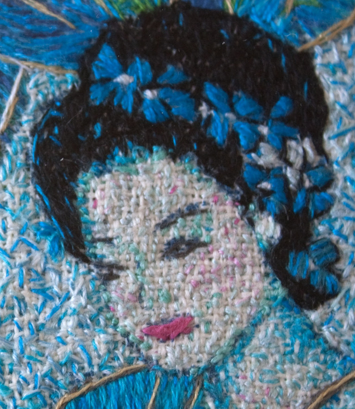 Blue lady and flowers   detail