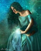 Femme eau turquoise