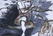 brown and black ink figure