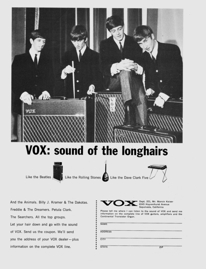 """The Beatles ad """"Vox: sound of the longhairs"""""""