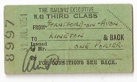 A BR SMJ Ticket (Kineton - Stratford)
