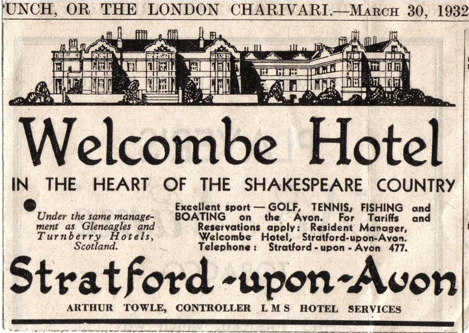 Welcombe Hotel (Stratford upon Avon) Advert