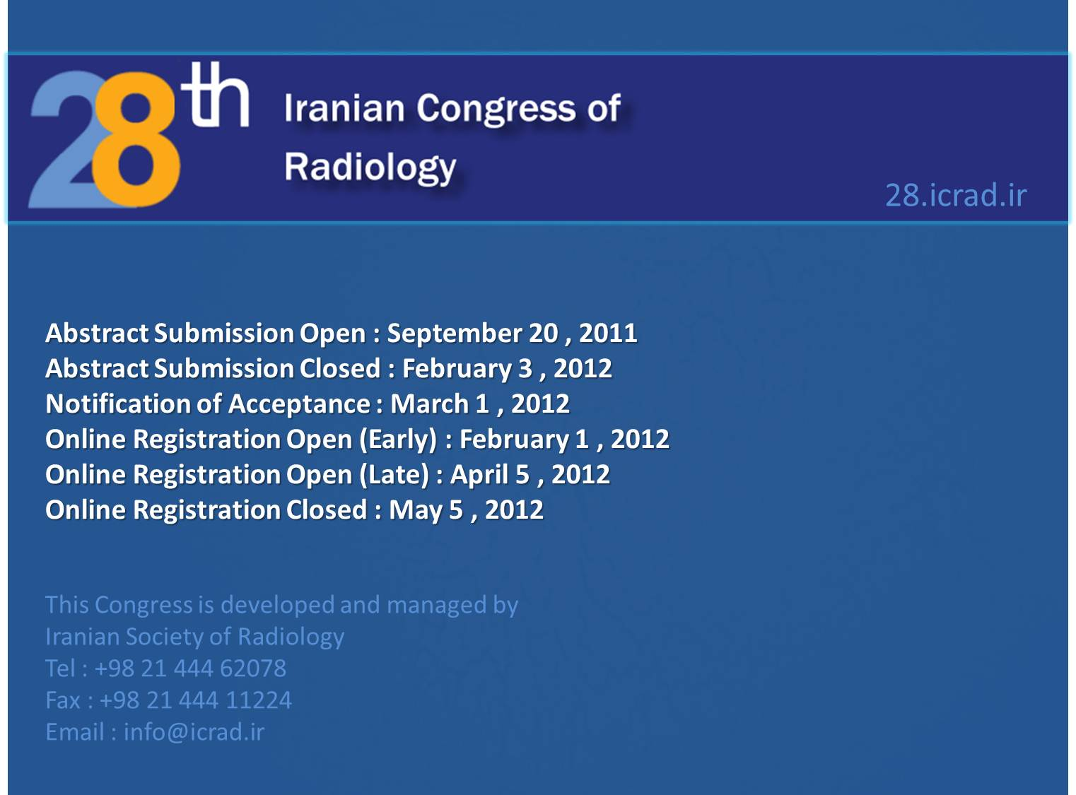 28th Iranian Congress Of  Radiology
