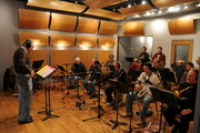 Rich Mansfield directs recording session at Audible Images