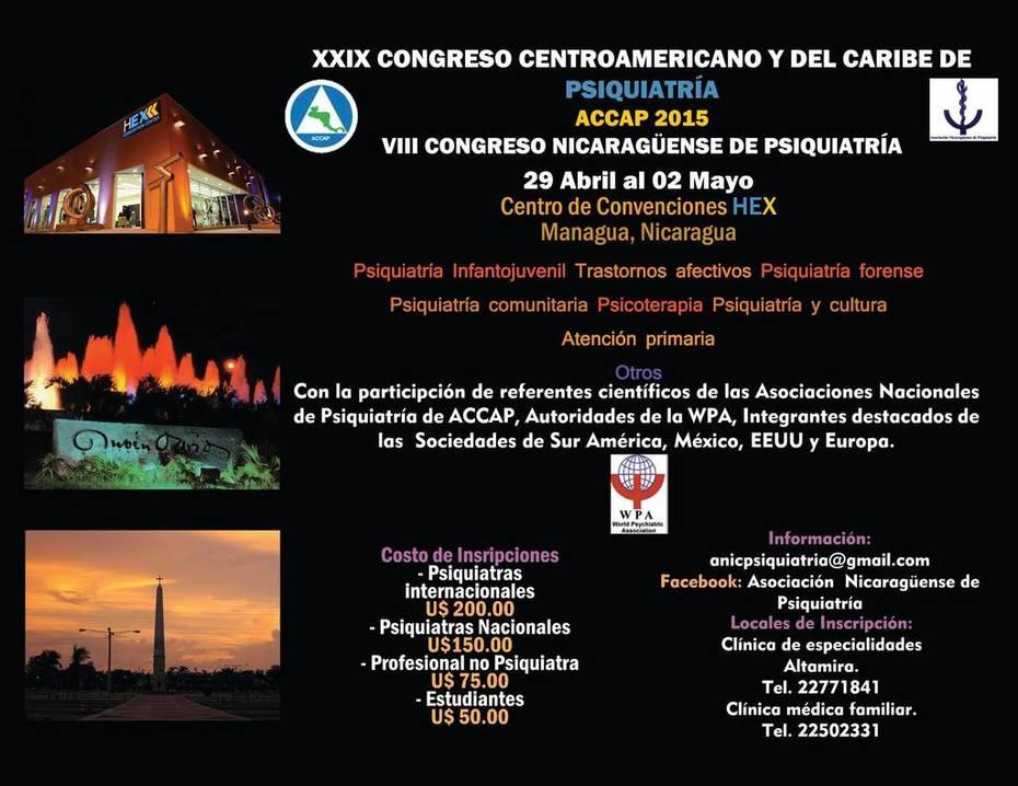 CONGRESO CENTROAMERICANO Y CARIBE DE PSIQUIATRIA 2015, MANAGUA, NICARAGUA10847395_661287050648602_3594067943496560973_o