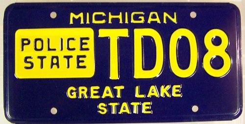 Michigan Police State License Plate
