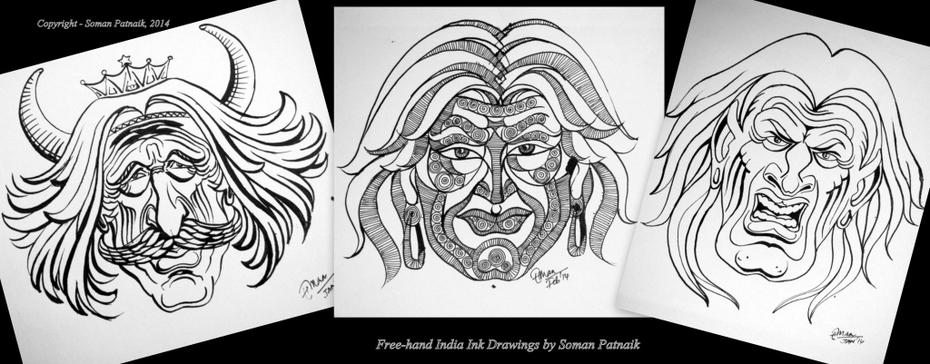 Indian Ink drawings_Designer Faces