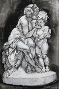 sculpture study in felt pen