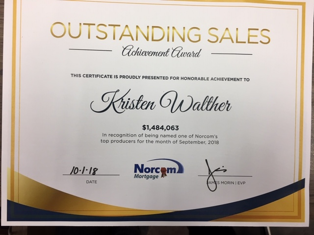 Outstanding Sales Achievement Award September 2018