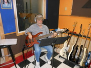 Playing my Dean bass guitar on a session!