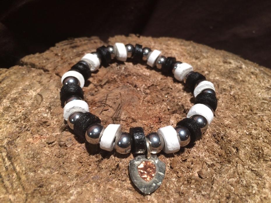 Black and White Leather beaded bracelet