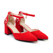 Red Wedding Shoes With Belts