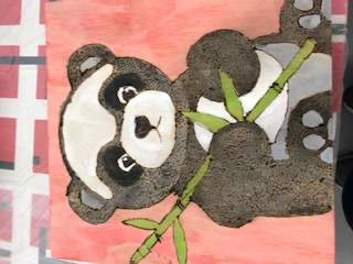 the panda with bamboo