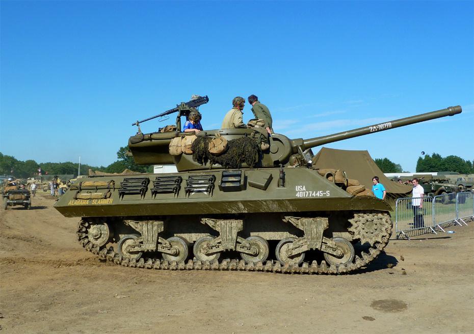 WW2 tank the 'Alabama Slammer' gets ready for battle..