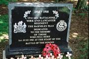 Barnsley Pals memorial Sheffield Park