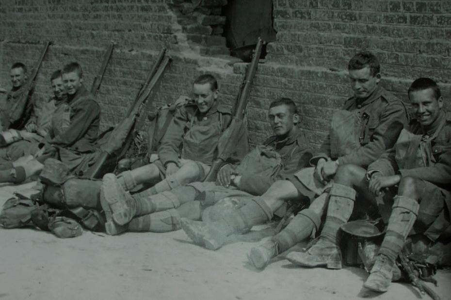 Closeup - Wellington Quarry display - Australian troops resting in Arras before the battle of Arras