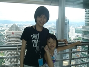 Me and my cousin on the Kuala Lumpur Twin Tower Bridge