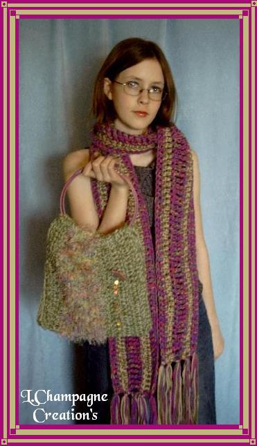 purple+green scarf purse combo view 1
