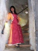 15 century costume, cotehardie with red sideless surcoat.