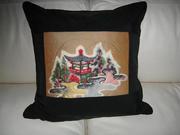 Handmade kimono silk quilt pillow