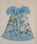 blue floral peasant dress
