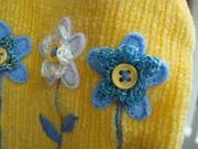 Crocheted Flowers on Kids' Sweater
